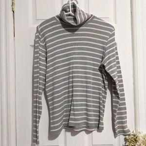 LL Bean Striped Turtleneck Sweater Pullover Gray
